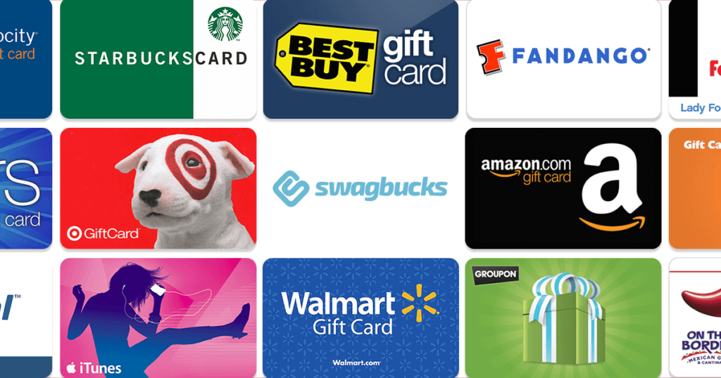 collage of gift cards including Amazon, Starbucks and more